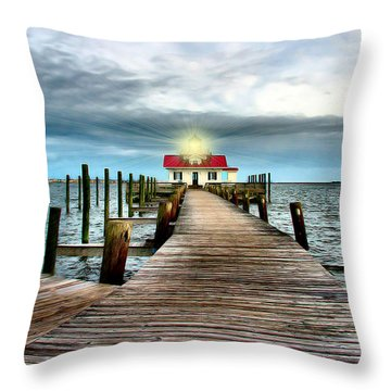 Screw-pile Lighthouse Throw Pillow by Nadine Lewis