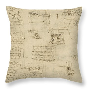 Screws And Lathe Assembling Press For Olives For Oil Production And Components Of Plumbing Machine  Throw Pillow by Leonardo Da Vinci