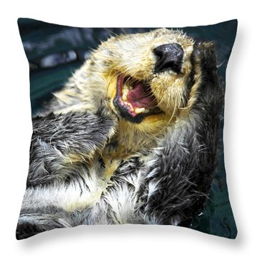 Sea Otter  Throw Pillow by Fabrizio Troiani