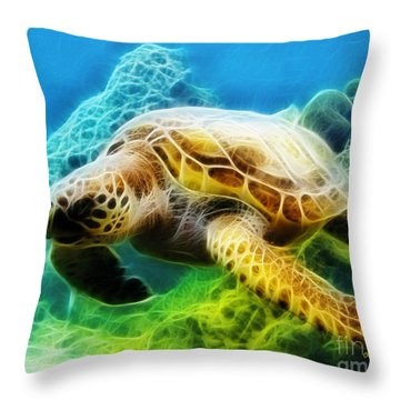 Sea Turtle 1 Throw Pillow by Cheryl Young