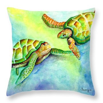 Sea Turtle Courtship Throw Pillow by Tamyra Crossley
