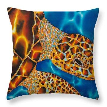 Sea Turtle Throw Pillow by Daniel Jean-Baptiste