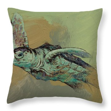 Sea Turtle Throw Pillow by Michael Creese