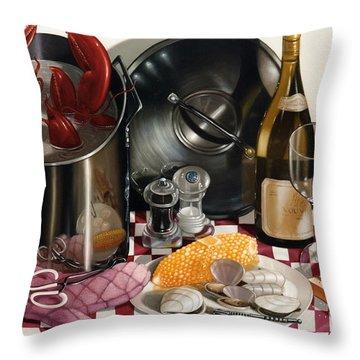Seafood Serenade 1996  Skewed Perspective Series 1991 - 2000 Throw Pillow by Larry Preston