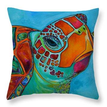 Seaglass Sea Turtle Throw Pillow by Patti Schermerhorn