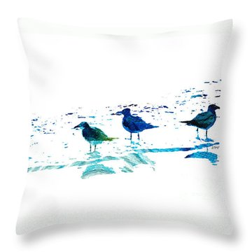 Seagull Art - On The Shore - By Sharon Cummings Throw Pillow by Sharon Cummings