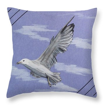 Seagull Throw Pillow by Susan Turner Soulis