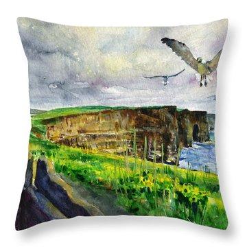 Seagulls At The Cliffs Of Moher Throw Pillow by John D Benson