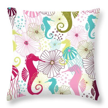 Seahorse Flora Throw Pillow by Susan Claire