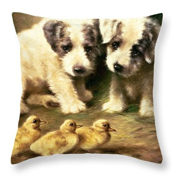 Sealyham Puppies And Ducklings Throw Pillow by Lilian Cheviot