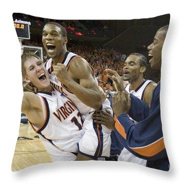Sean Singletary And Lars Mikalauskas Celebrate Uva Win Over Arizona Throw Pillow by Jason O Watson