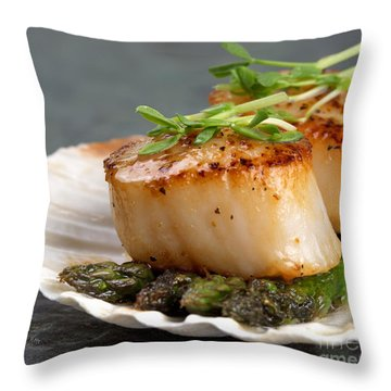Seared Scallops Throw Pillow by Jane Rix