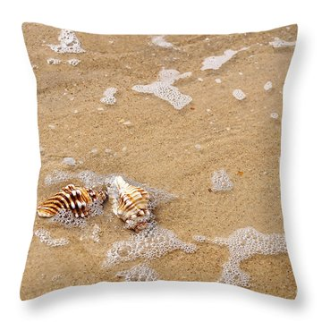 Seashells And Bubbles Throw Pillow by Kaye Menner