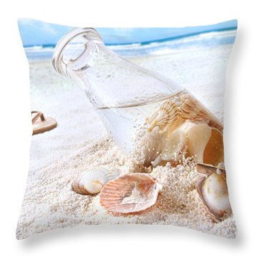 Seashells In A Bottle On The Beach Throw Pillow by Sandra Cunningham