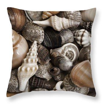 Seashells On The Beach Throw Pillow by Carol Leigh