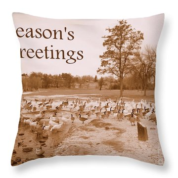 Season's Greetings - Winter Pond Throw Pillow by Carol Groenen