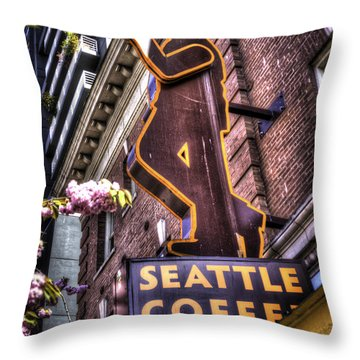 Seattle Coffee Works Throw Pillow by Spencer McDonald