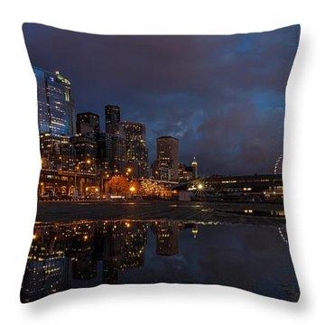Seattle Night Skyline Throw Pillow by Mike Reid