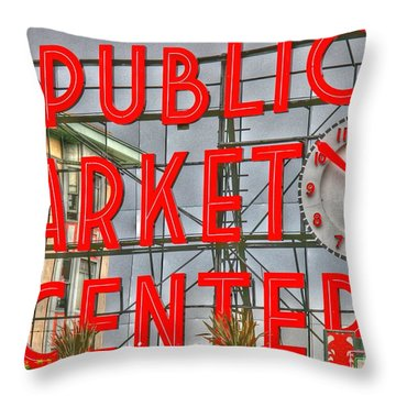 Seattle Public Market Center Clock Sign Throw Pillow by Tap On Photo