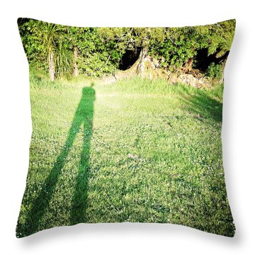 Selfie Shadow Throw Pillow by Les Cunliffe