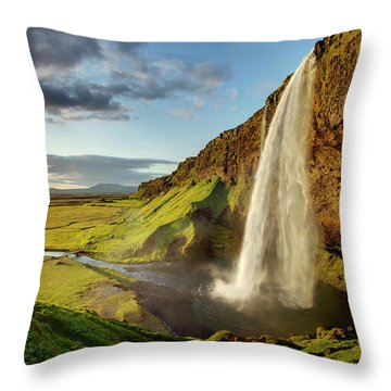 Seljalandsfoss Iceland Throw Pillow by Peter OReilly