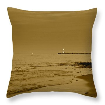Sepia Lighthouse Throw Pillow by Frozen in Time Fine Art Photography