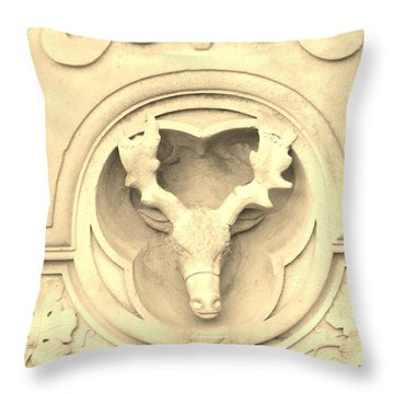 Sepia Reindeer Throw Pillow by Sonali Gangane
