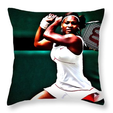 Serena Williams 3a Throw Pillow by Brian Reaves