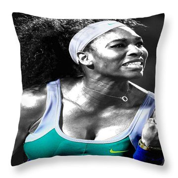 Serena Williams Ace Throw Pillow by Brian Reaves