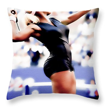 Serena Williams Catsuit Throw Pillow by Brian Reaves