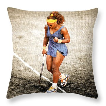 Serena Williams Count It Throw Pillow by Brian Reaves