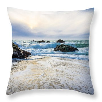 Setting Sun And Rising Tide Throw Pillow by CML Brown
