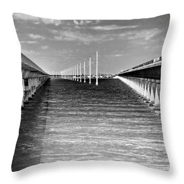seven mile bridge BW Throw Pillow by Rudy Umans