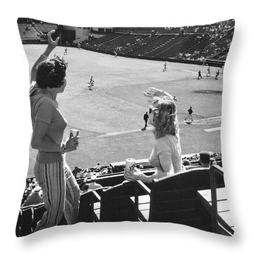 Sf Giants Fans Cheer Throw Pillow by Underwood Archives