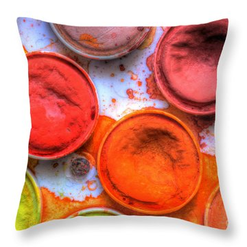 Shades Of Orange Watercolor Throw Pillow by Heidi Smith