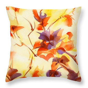 Shadow Leaves Throw Pillow by Summer Celeste