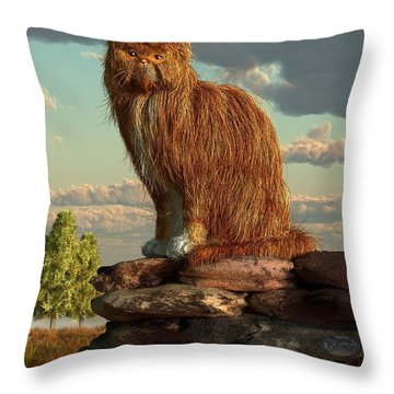 Shaggy Cat Throw Pillow by Daniel Eskridge