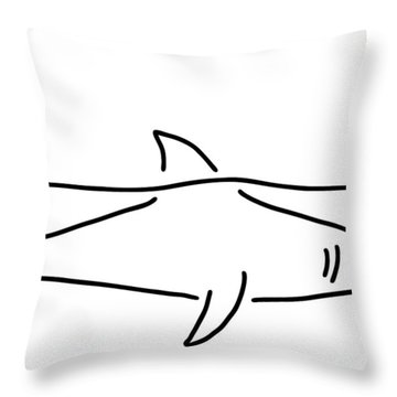 Shark Shark Fish Fin Sea Throw Pillow by Lineamentum