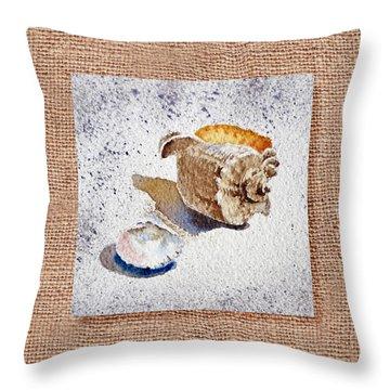 She Sells Sea Shells Decorative Collage Throw Pillow by Irina Sztukowski