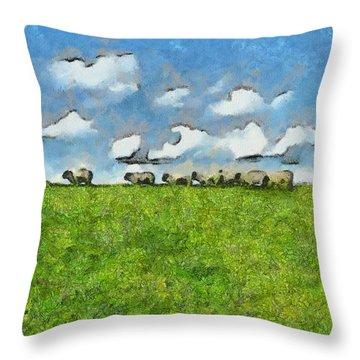 Sheep Herd Throw Pillow by Ayse Deniz