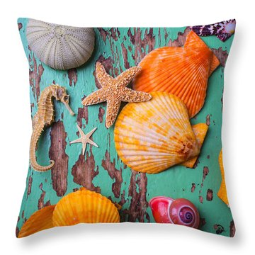 Shells On Old Green Board Throw Pillow by Garry Gay