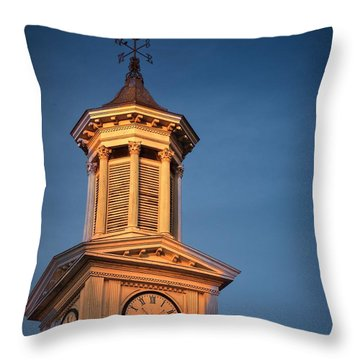 Shepherd University - Mcmurran Clock Tower At Twilight Throw Pillow by Julia Springer