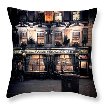 Sherlock Holmes Pub Throw Pillow by Jasna Buncic