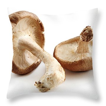 Shiitake Mushrooms Throw Pillow by Elena Elisseeva