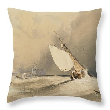 Ships At Sea Off Folkestone Harbour Storm Approaching Throw Pillow by Anthony Vandyke Copley Fielding