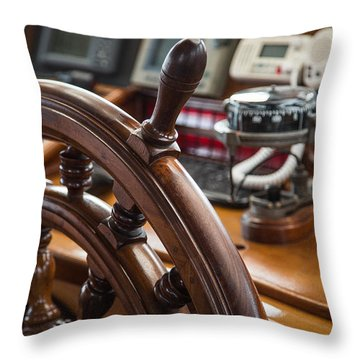 Ships Wheel Throw Pillow by Dale Kincaid