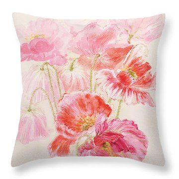 Shirley Poppies Throw Pillow by Joan Thewsey