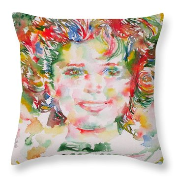 Shirley Temple - Watercolor Portrait.1 Throw Pillow by Fabrizio Cassetta
