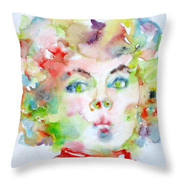 Shirley Temple - Watercolor Portrait.2 Throw Pillow by Fabrizio Cassetta