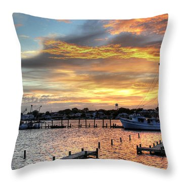 Shrimp Boats At Sunset Throw Pillow by Benanne Stiens
